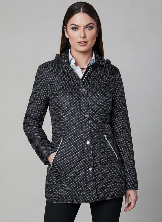 Chillax - Manteau matelassé à pois, Noir, hi-res