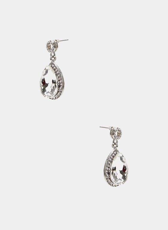 Teardrop Crystal Earrings, Silver, hi-res