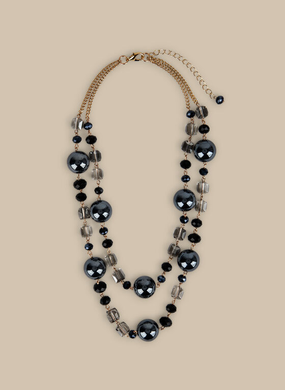 Short Stone & Cube Necklace, Black