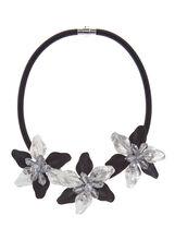 Collier corde court à fleurs perlées, , hi-res