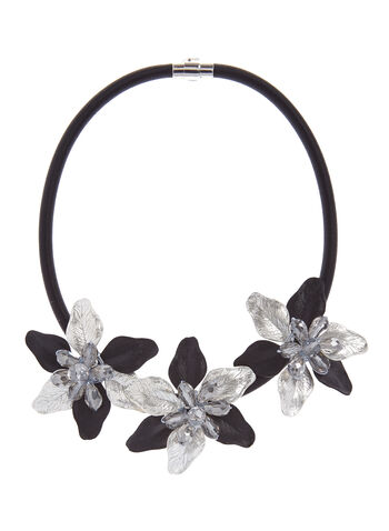 Beaded Flower Cord Necklace, Black, hi-res