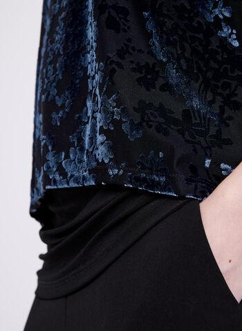 Haut manches courtes dolman avec étoffe en velours , Gris, hi-res