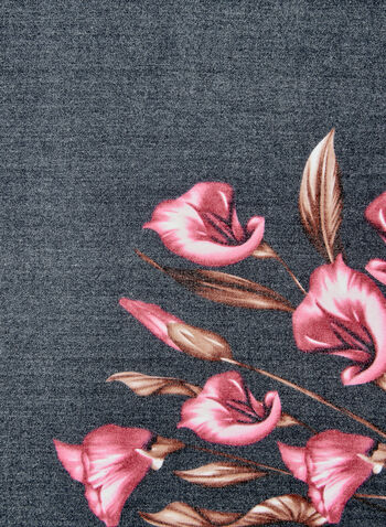 Foulard carré à fleurs, Noir, hi-res