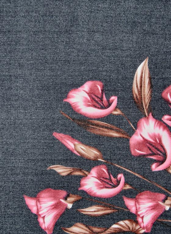 Floral Bouquet Print Scarf, Black, hi-res