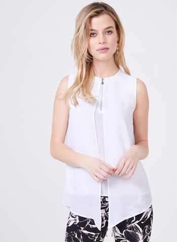 Vex - Sleeveless Crew Neck Capelet Blouse, Off White, hi-res