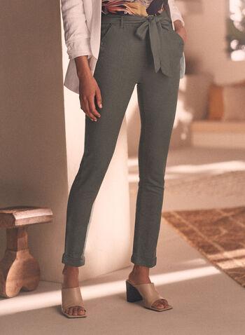Belted Linen Pants, Green,  Spring Summer 2021, pants, linen, belt, slim leg, taper, cuff, cuffed, pull-on, chapter one