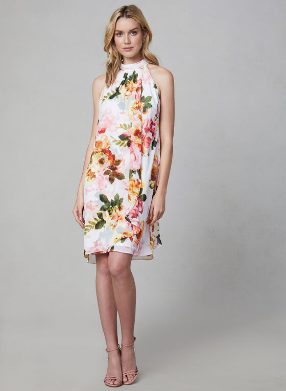 Floral Print Sleeveless Dress, White, hi-res