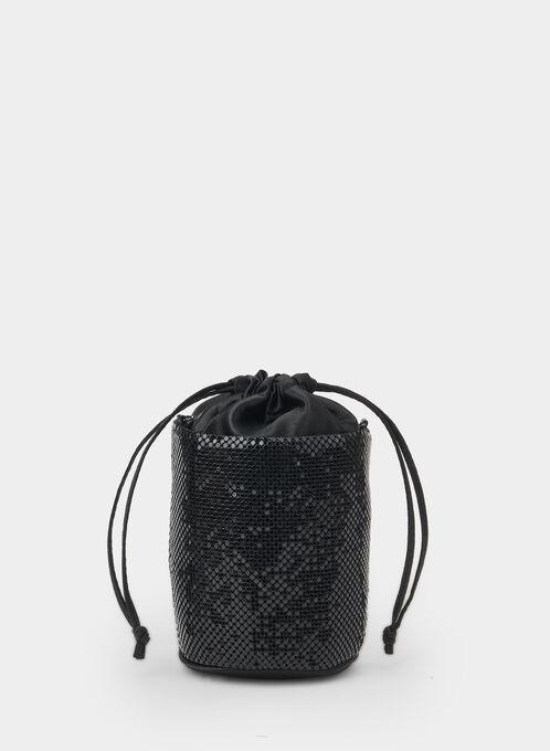 Pochette tube en sequins, Noir