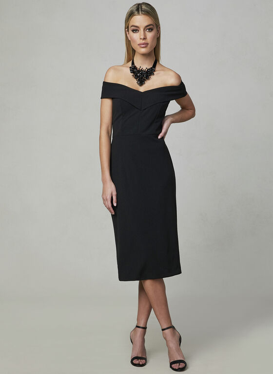 Off-the-Shoulder Dress, Black, hi-res