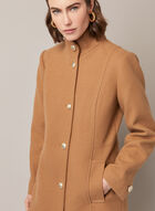 High Collar Wool Blend Coat, Brown