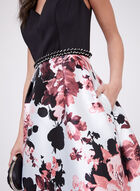 Ignite Evenings – Floral Print Ball Gown, Black, hi-res