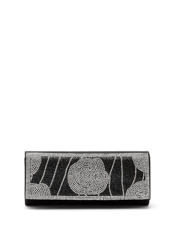 Crystal Encrusted Clutch, Black, hi-res