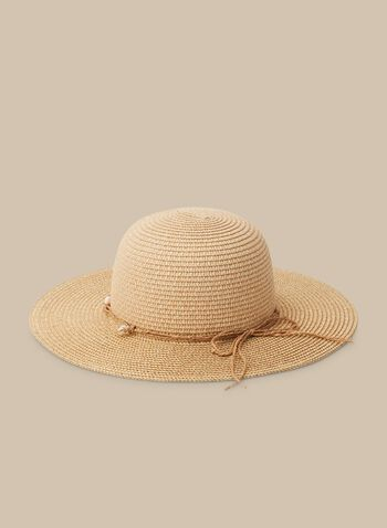 Paper Straw Hat , Brown,  hat, straw hat, beach hat, paper straw, seashells, spring 2020, summer 2020