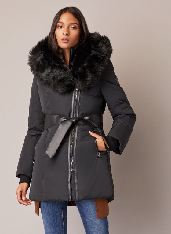 Sicily - Manteau à détails de cuir végane, Noir