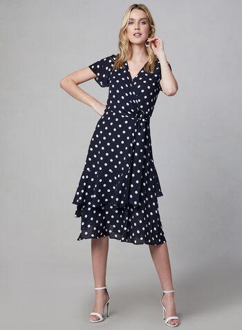 Joseph Ribkoff - Polka Dot Print Dress, Blue, hi-res