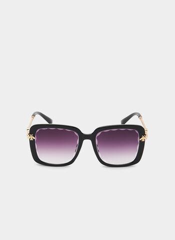 Oversized Square Sunglasses, Black,  bee detail, metallic arms, plastic, spring 2019, summer 2019