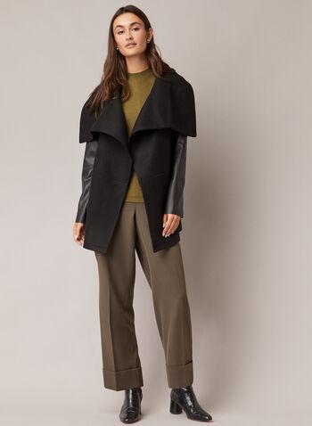Manteau en laine et similicuir, Noir,  manteau, col à rabat, laine, similicuir, poches, épaulettes, automne hiver 2020
