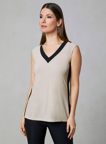 Contrast Trim Top, Off White, hi-res