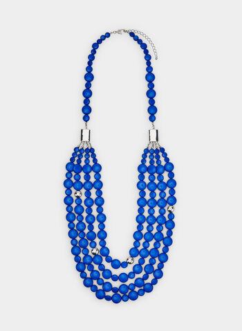 Flat Round Beaded Necklace, Blue, hi-res