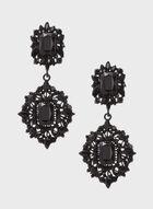Boucles d'oreilles à pendants ajourés et perles, Noir, hi-res