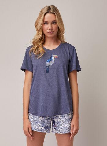 T-shirt à appliqué, Bleu,  pyjama, t-shirt, manches courtes, appliqué, toucan, la vie est belle, printemps été 2020