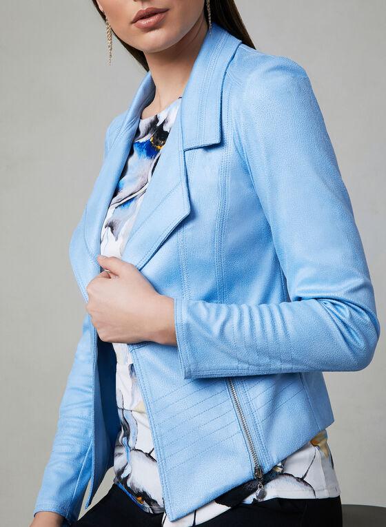 Vex - Faux Suede Open Front Jacket, Blue, hi-res