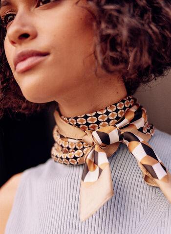 Foulard carré à motif géométrique, Brun,  accessoire, foulard, carré, soie, motif, géométrique, printemps été 2021