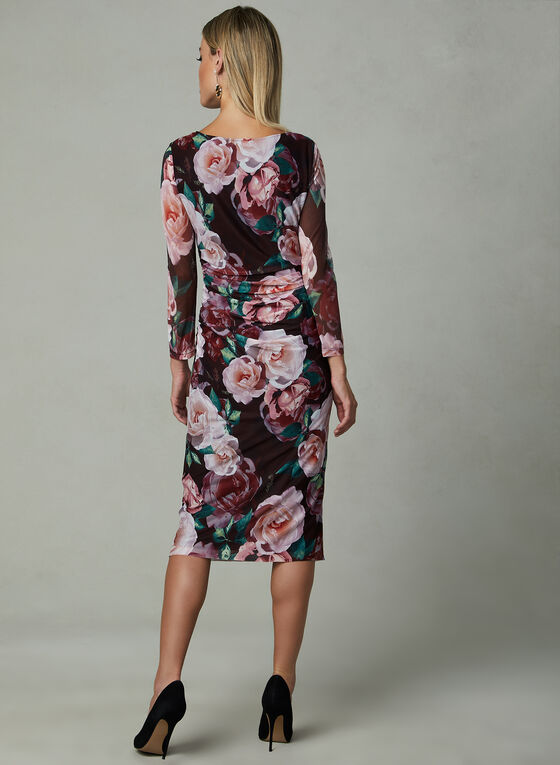Ignite Evenings - Robe fleurie en maille filet , Rouge, hi-res
