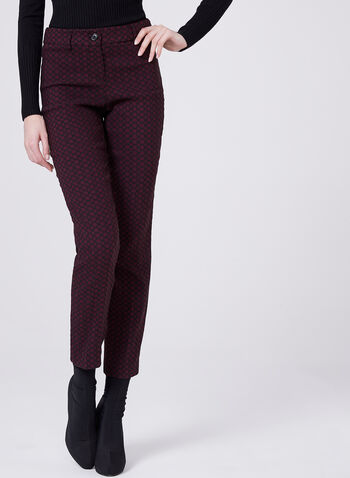 Geometric Print Straight Leg Jacquard Pants, Red, hi-res