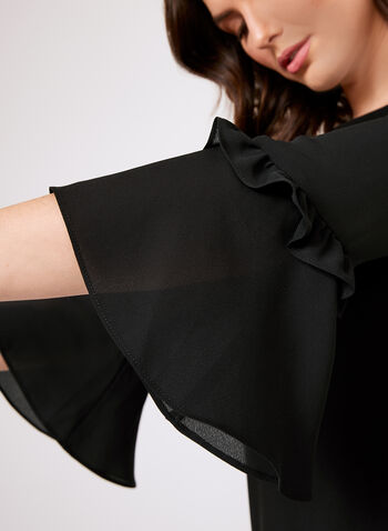 Ruffled Bell Sleeve Blouse, Black, hi-res