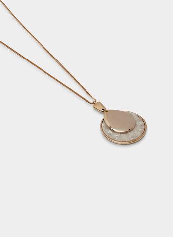 Collier à pendentif pierre et médaillon, Blanc, hi-res