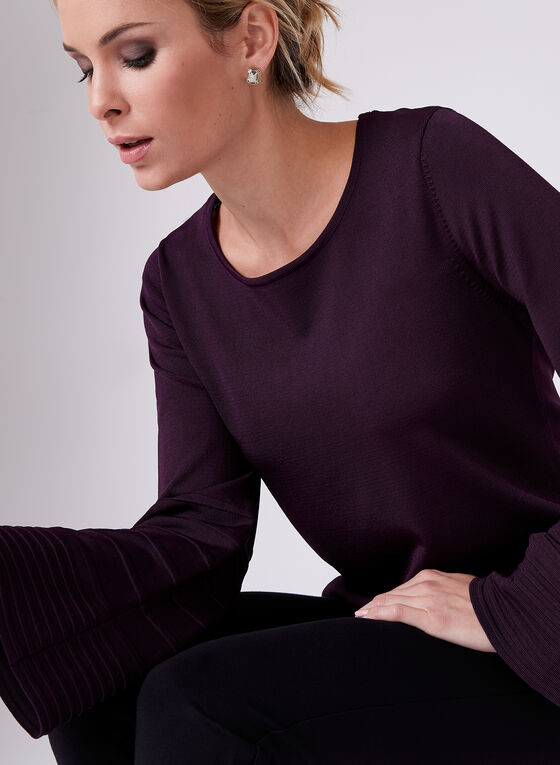 Bell Sleeve Stripe Detail Sweater, Purple, hi-res
