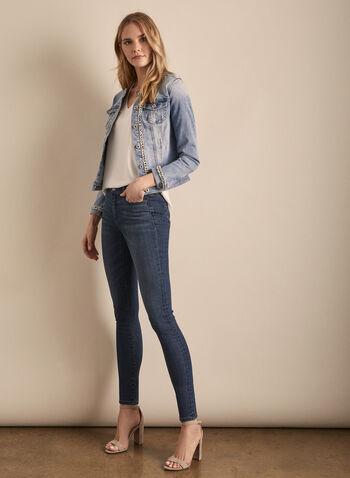 Jeans Julia à jambe étroite , Bleu,  printemps été 2020, jeans, coton, denim, jambe étroite, effet délavé, poches