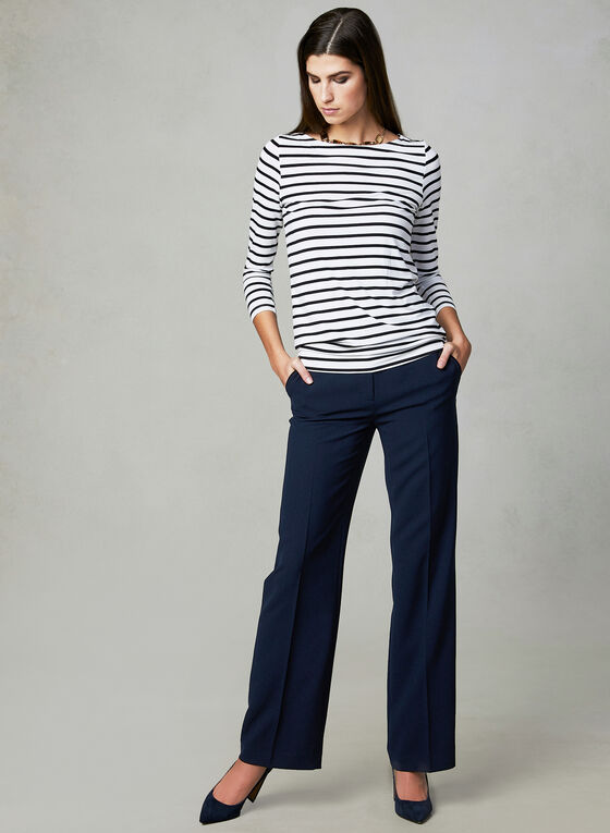 Stripe Print Boat Neck Top, Blue, hi-res