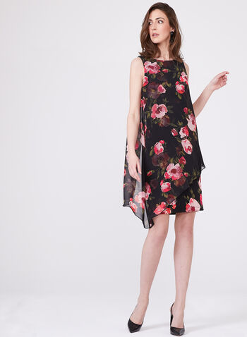 Sleeveless Asymmetric Capelet Back Floral Print Jersey Dress, Black, hi-res