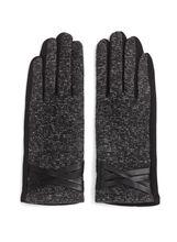 Tweed & Faux Leather Trim Gloves, Black, hi-res