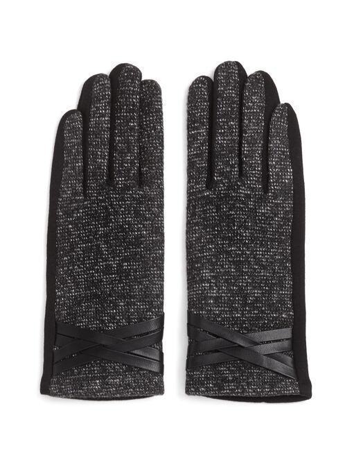 Gants tweed et tricot avec détails similicuir, Noir, hi-res