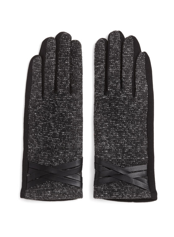 Tweed & Faux Leather Trim Gloves, Black, hi-res