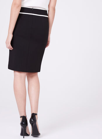 Contrasting Ponte Pencil Skirt, Black, hi-res