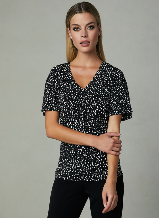 Abstract Print Ruched Neck Blouse, Black, hi-res