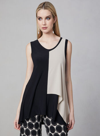 Joseph Ribkoff - Reversible Colour Block Tunic, Black, hi-res