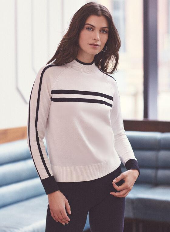 Alison Sheri - Pull contrasté à rayures, Blanc cassé