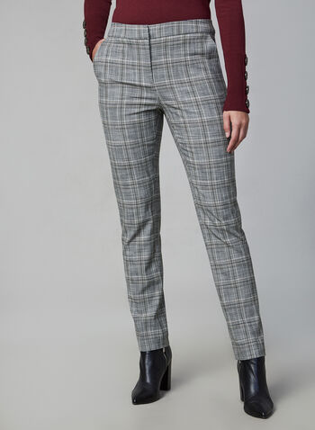 Plaid Print Slim Leg Pants , Grey,  plaid, slim leg, stretchy, pleats, trousers, fall 2019, winter 2019
