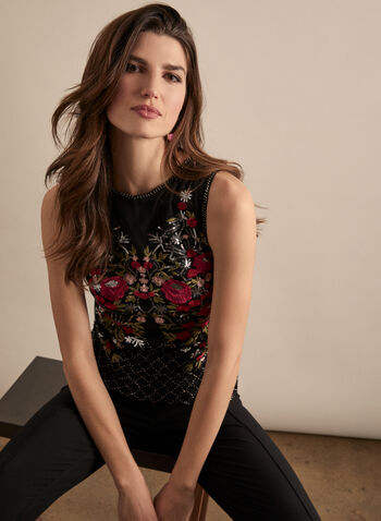 Frank Lyman - Embroidered & Sequin Top , Black,  top, embroidery, sleeveless, sequins, sequin top, embroidered, spring 2020, summer 2020