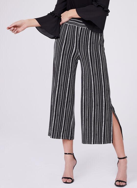 Jupe-culotte à rayures graphiques, Noir, hi-res