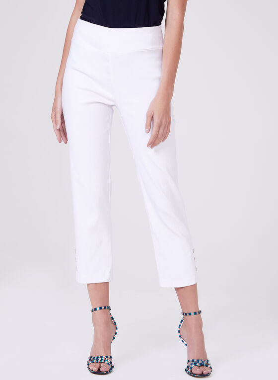 Button Detail Pull-On Capris, White, hi-res