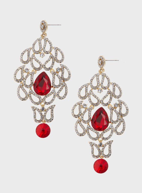 Boucles d'oreilles chandelier aspect rubis et cristaux, Rouge, hi-res
