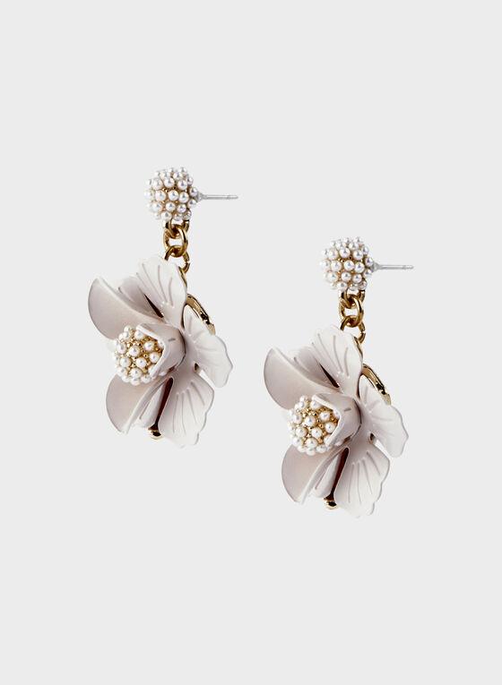 Flower Dangle Earrings, Off White, hi-res