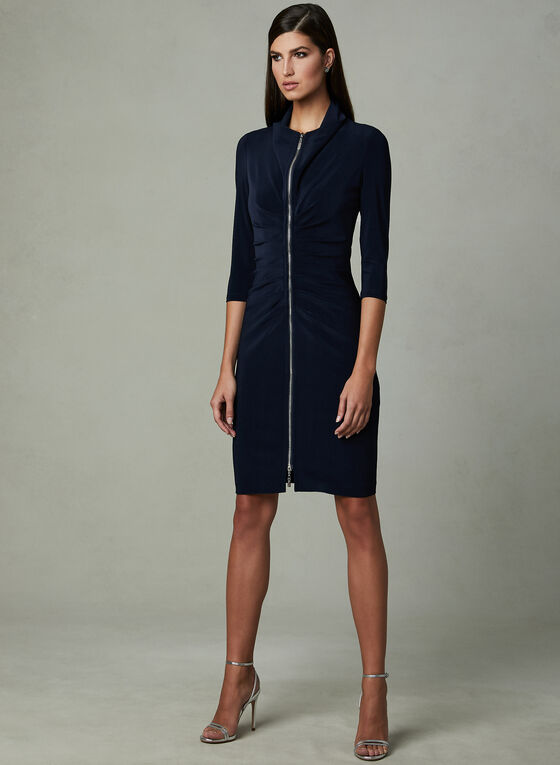 Joseph Ribkoff - Ruched Zipper Dress, Blue, hi-res