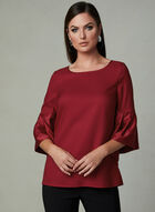 ¾ Bell Sleeve Blouse, Red, hi-res